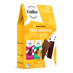"""Taschenpackung von Schokoladen-Täfelchen Galler """"Assortment"""", 18 Stk."""