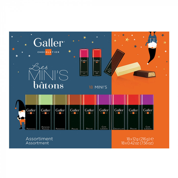 "Šokolādes batoniņu komplekts Galler ""Mini Batons Assortment Christmas"", 18 gab."