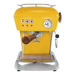 """Ekspozicinis kavos aparatas Ascaso ,,Dream Zero Yellow"""" su medžio apdailos detalėmis"""