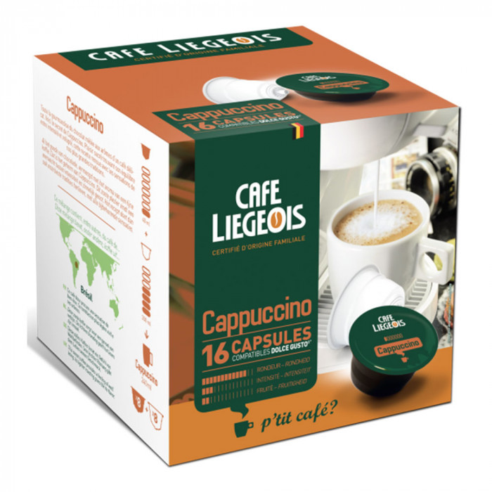 "Kavos kapsulės Café Liégeois ""Cappuccino"", 8+8 vnt."