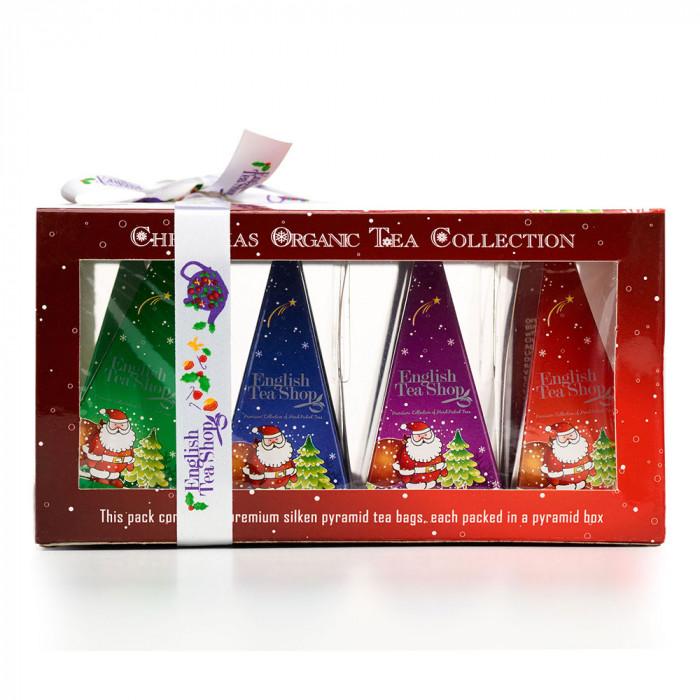 "Tee English Tea Shop ""Org. Tea Gift Box (Red) with Santa Design-12ct  Pyramid"""