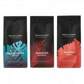 """Kaffeebohnen-Set """"Yirgacheffe"""" + """"Kenya Kariru"""" + """"Indonesia Sumatra"""""""
