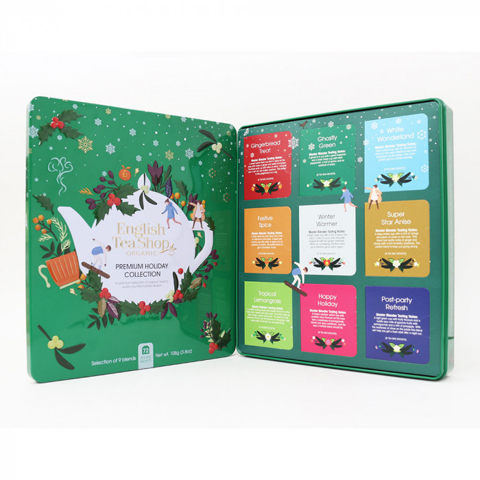 "Tee English Tea Shop ""Premium Holiday Collection Green Gift Tin – 72ct"""