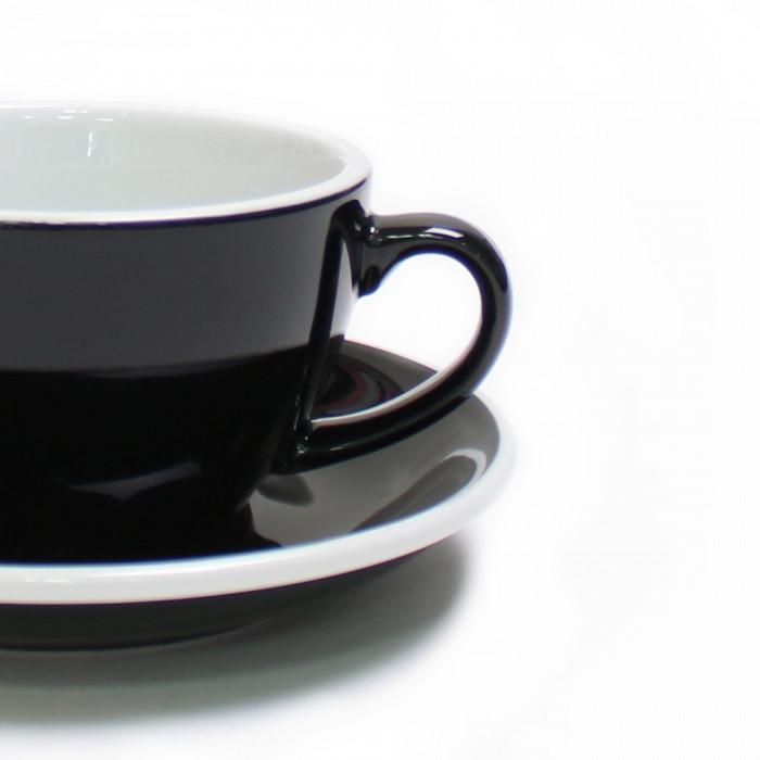"""Set von Cappuccino-Tasse mit Untertasse Loveramics """"Egg Black"""", 200 ml, 6 Stk."""