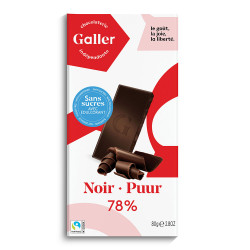 "Schokoladentafel Galler ""Dark no added sugar"", 80 g"