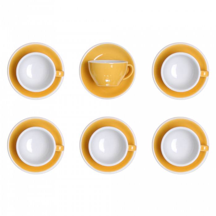 "Cappuccino cup with a saucer Loveramics ""Egg Yellow"", 200 ml, 6 pcs."