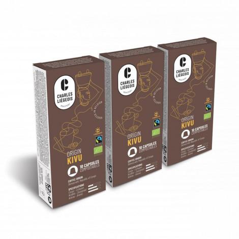 "Coffee capsules compatible with Nespresso® set Charles Liégeois ""Kivu"", 3 x 10 pcs."