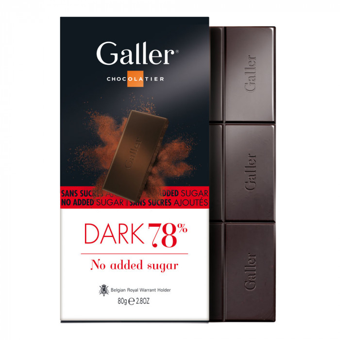 "Šokolado plytelė Galler ""Dark no added sugar"", 80 g"