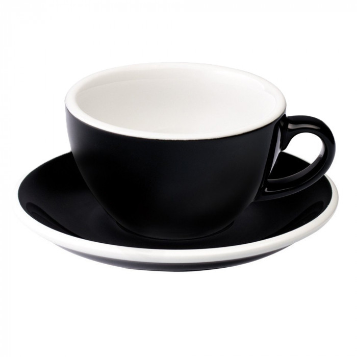"Cappuccino cup with a saucer Loveramics ""Egg Black"", 200 ml"