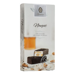 """Dark chocolate with nougat and almonds Laurence """"Classy White Nougat"""", 4 x 32.5 g"""