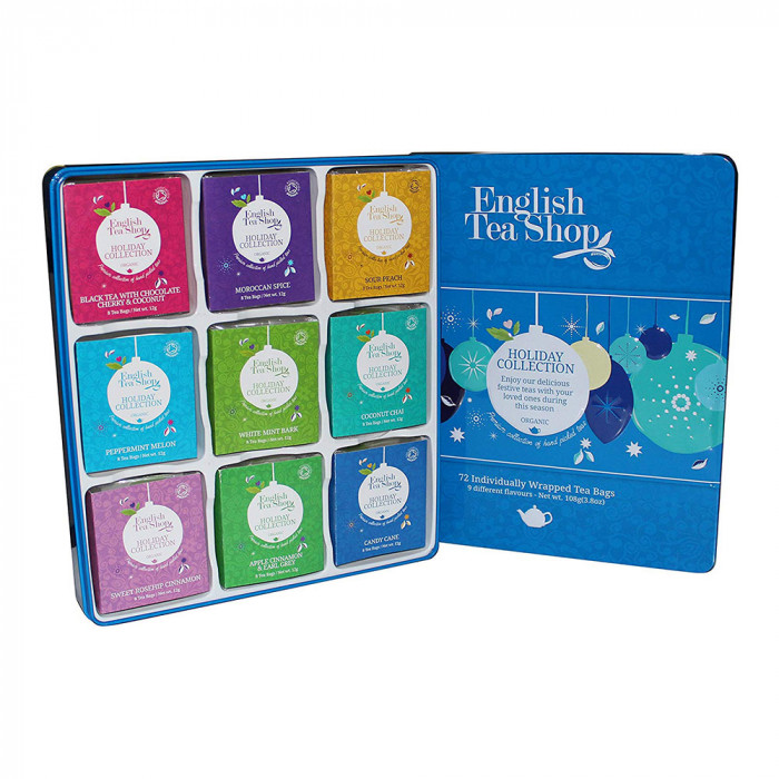 "Herbata English Tea Shop ""ETS Org.Holiday Blue Baubles Tin – 72ct Single Chamber Poly Sachet"""
