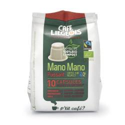 """Coffee capsules Café Liégeois """"Mano Mano Puissant"""", 10 pcs."""