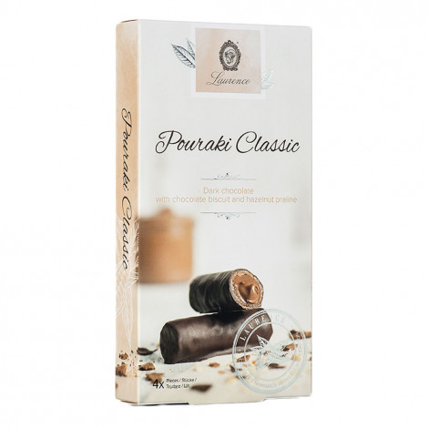 """Laurence """"Pouraki Classic"""" Dunkle Schokolade mit Schokobiskuit und Nusscreme, 4 x 30 g"""