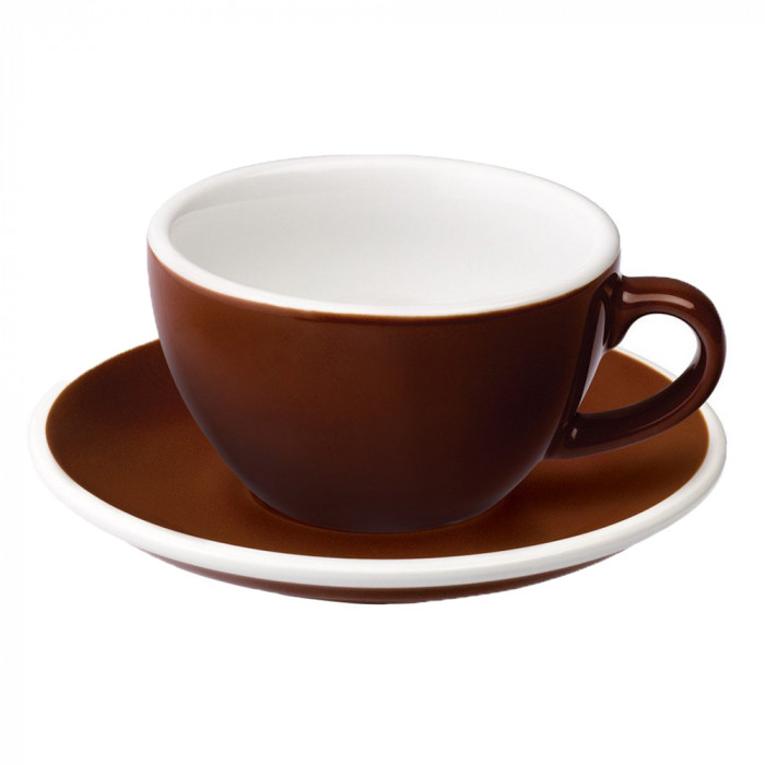 "Cappuccino cup with a saucer Loveramics ""Egg Brown"", 250 ml"