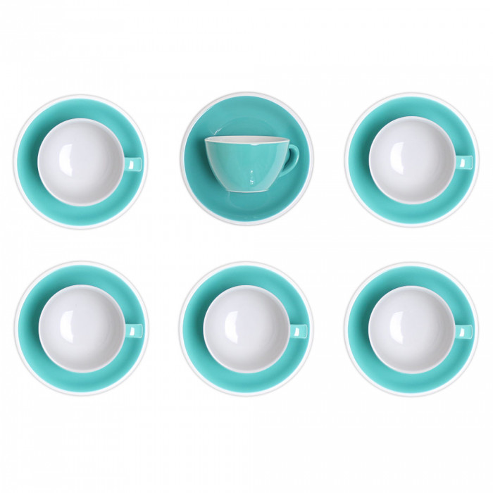 "Cappuccino cup with a saucer Loveramics ""Egg Teal"", 200 ml, 6 pcs."