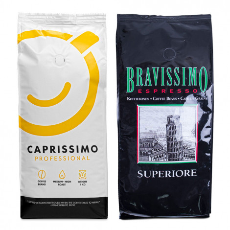 """Kavos pupelių rinkinys """"Caprissimo Professional"""" + """"Superiore"""""""