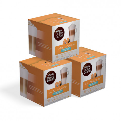 """Coffee capsules compatible with Dolce Gusto® set NESCAFÉ Dolce Gusto """"Latte Macchiato Unsweetened"""", without sugar, 3 x 16 pcs."""