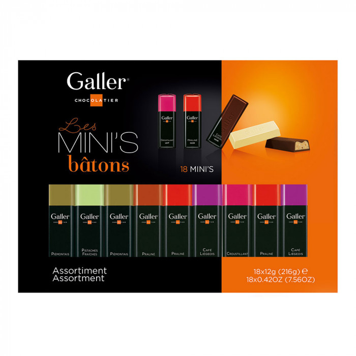 "Gift box mini bars Galler ""Mini Batons Assortment"", 18 pcs."