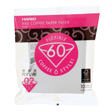 "Baltā papīra filtri Hario ""V60 02 MK"", 100 gab"
