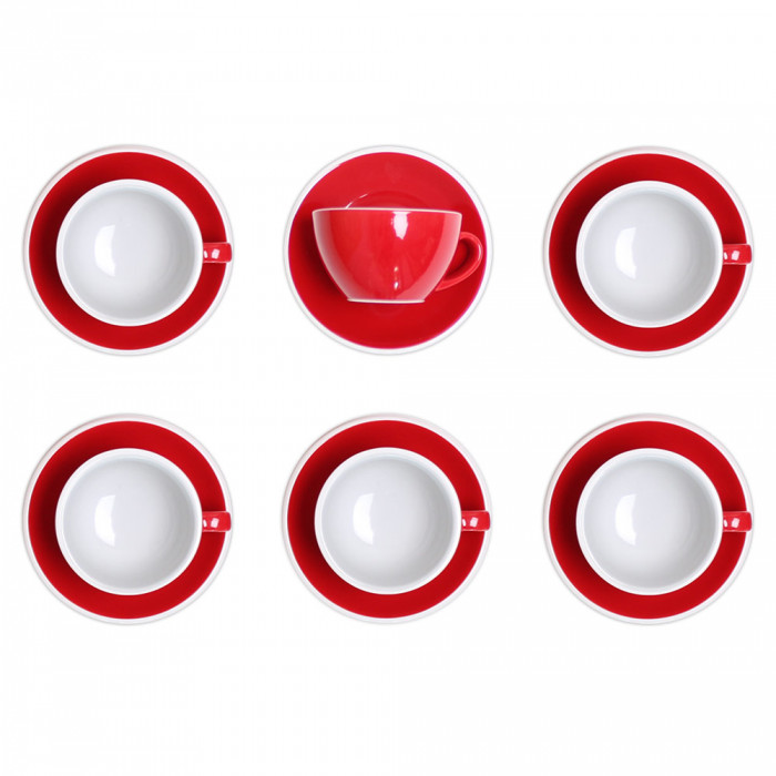 "Cappuccino cup with a saucer Loveramics ""Egg Red"", 200 ml, 6 pcs."