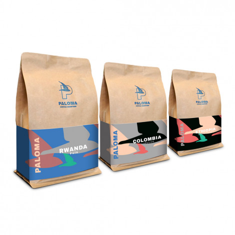 """Zestaw kawy ziarnsitej Paloma Coffee Roastery """"Zestaw degustacyjny do alternatyw Nowe Kawy"""", 750 g"""