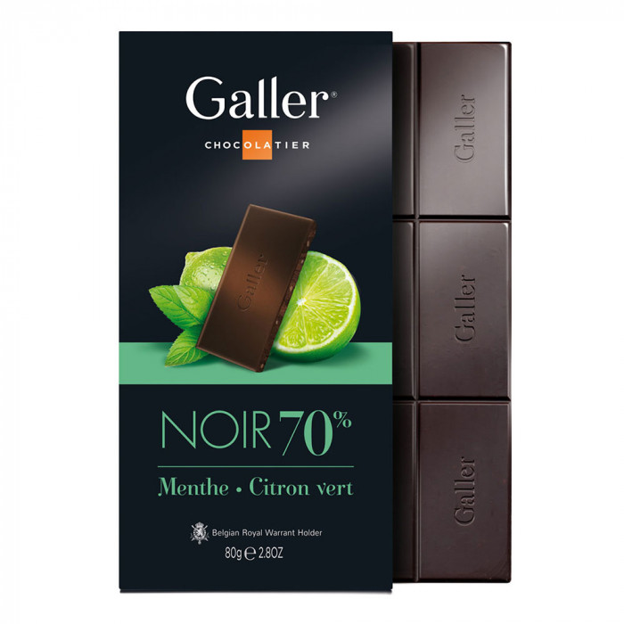 "Šokolaaditahvel Galler ""Dark Mint Lime"", 80 g"