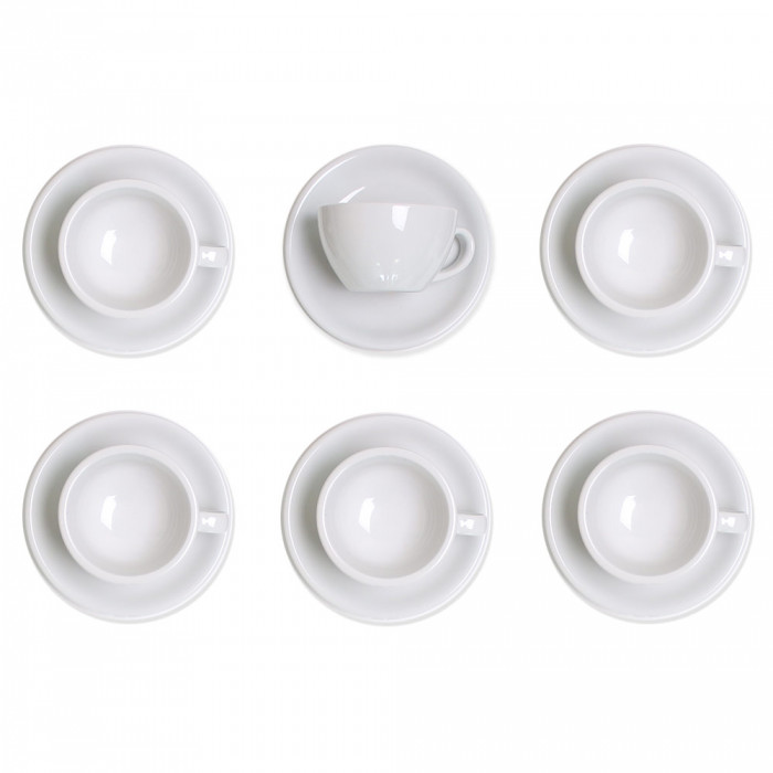 "Cappuccino cup with a saucer Loveramics ""Egg White"", 200 ml, 6 pcs."
