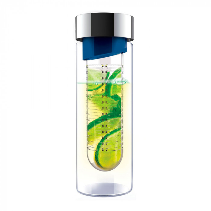 "Wasserflasche Asobu ""Flavour it Blue/Silver"", 480 ml"