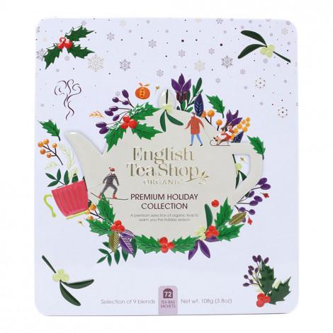 "Tee English Tea Shop ""Premium Holiday Collection White Gift Tin – 72ct"""