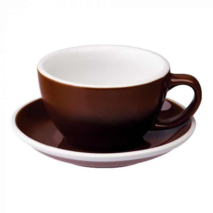"Café Latte Tasse mit Untertasse Loveramics ""Egg Brown"", 300 ml"