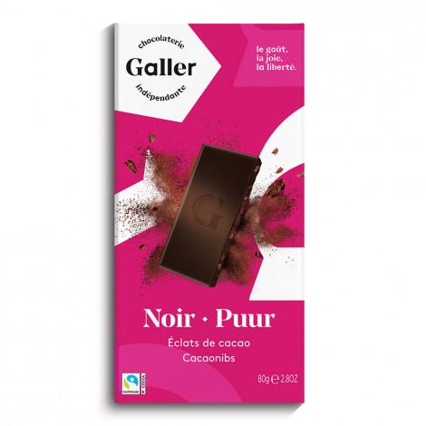 """Schokoladentafel Galler ,,Dark Cocoa Nibs"""" 80 g"""