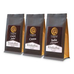 """Gemahlener Kaffee Set Coroma Kaffeemanufaktur """"Crema Kaffee, Crema Bella Kaffee & India Chikmagalur"""", 3 x 100 g"""
