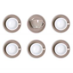"""Set von Cappuccino-Tasse mit Untertasse Loveramics """"Egg Taupe"""", 200 ml, 6 Stk."""