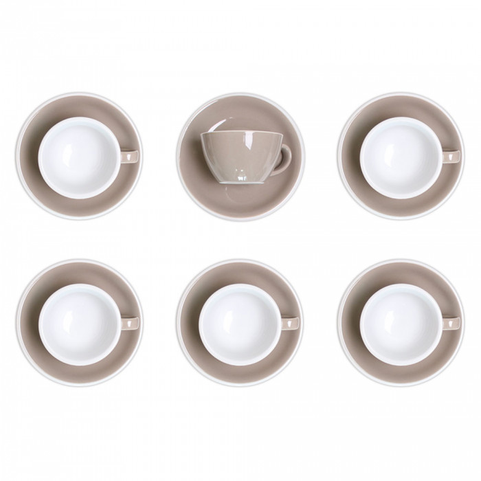"Cappuccino cup with a saucer Loveramics ""Egg Taupe"", 200 ml, 6 pcs."