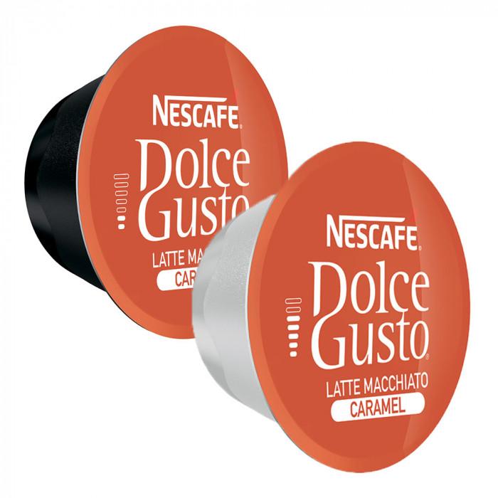 "Kavos kapsulės NESCAFÉ Dolce Gusto ""Caramel Latte Macchiato"", 8+8 vnt."