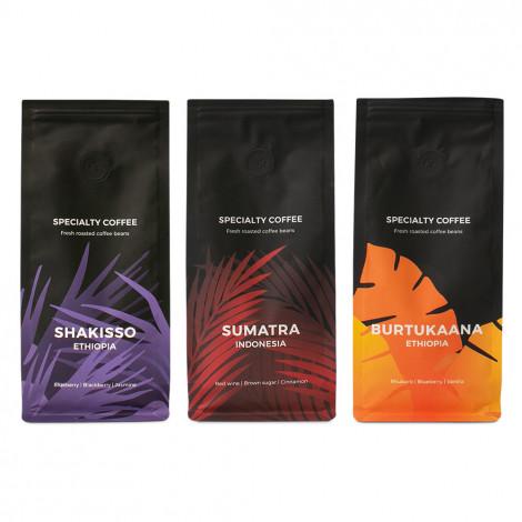 "Specialty kohviubade komplekt ""Indonesia Sumatra"" + ""Ethiopia Burtukaana"" + ""Ethiopia Shakisso"""