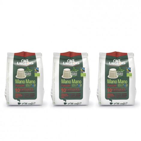 "Coffee capsules compatible with Nespresso® set Café Liégeois ""Mano Mano Puissant"", 3 x 10 pcs."