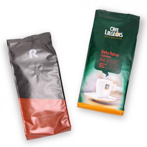 """Kafijas pupiņu komplekts """"Gold Label Organic"""" + """"Bella Roma"""""""