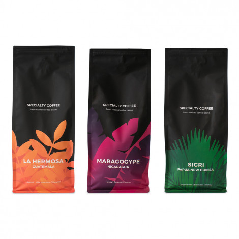 "Spezialitäten Kaffeebohnen-Set ""Maragogype"" + ""Papua New Guinea Sigri"" + ""Guatemala La Hermosa"""